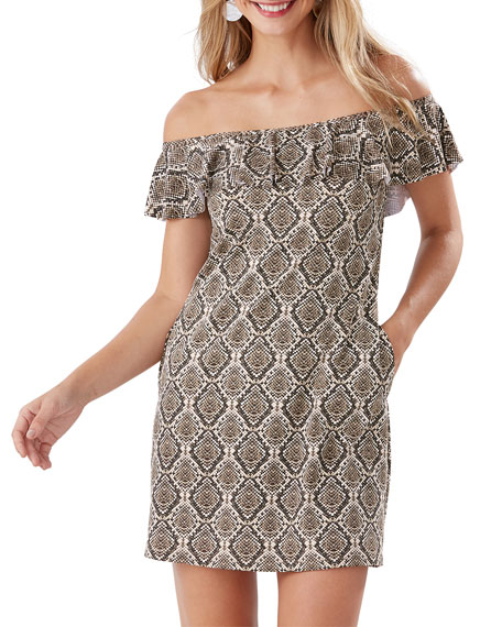 Tommy Bahama Dresses DESERT PYTHON OFF-SHOULDER RUFFLE SPA DRESS