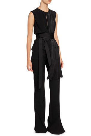 Victoria Victoria Beckham Fringed Sleeveless Scarf Top