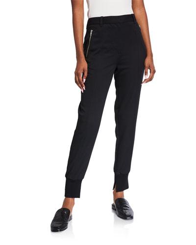 Zip-Pocket Wool Jogger Pants