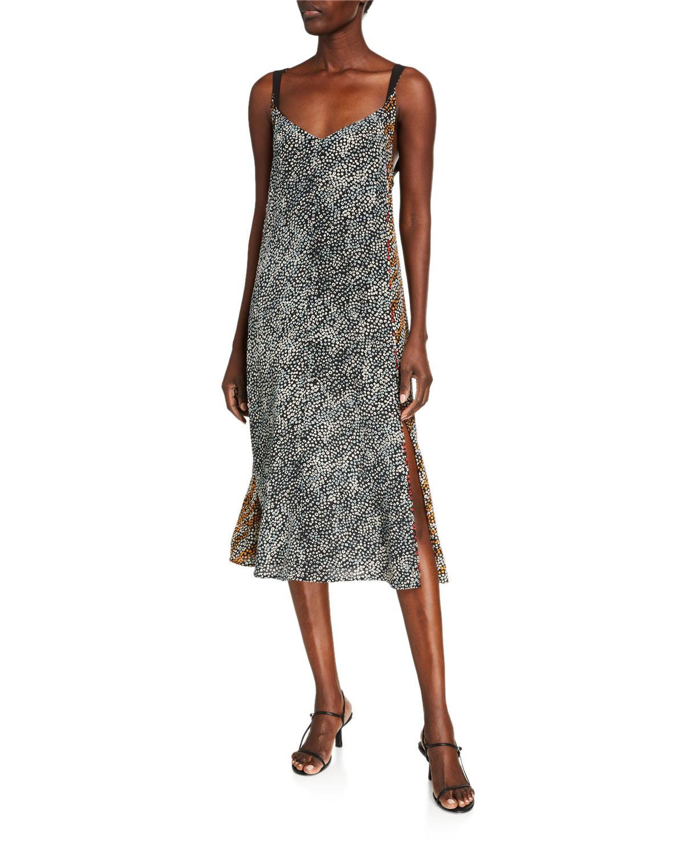 Rag & Bone Colette Printed Side-Slit Slip Dress