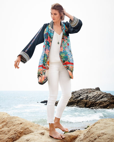 Image 2 of 4: Johnny Was Plus Size Tropical Reversible Button-Front Kimono