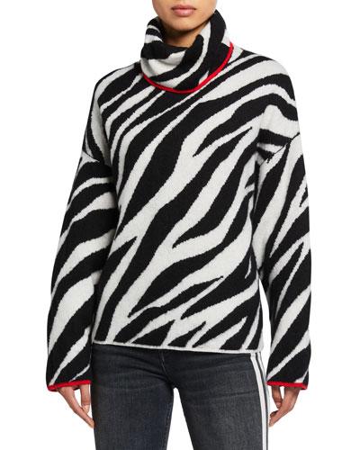 Kiki Funnel-Neck Zebra Sweater