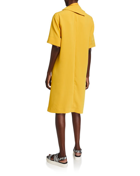 3.1 Phillip Lim Short-Sleeve Crepe Dress w/ Removable Scarf