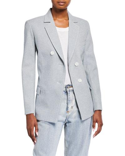 Denim Asymmetric-Button Blazer