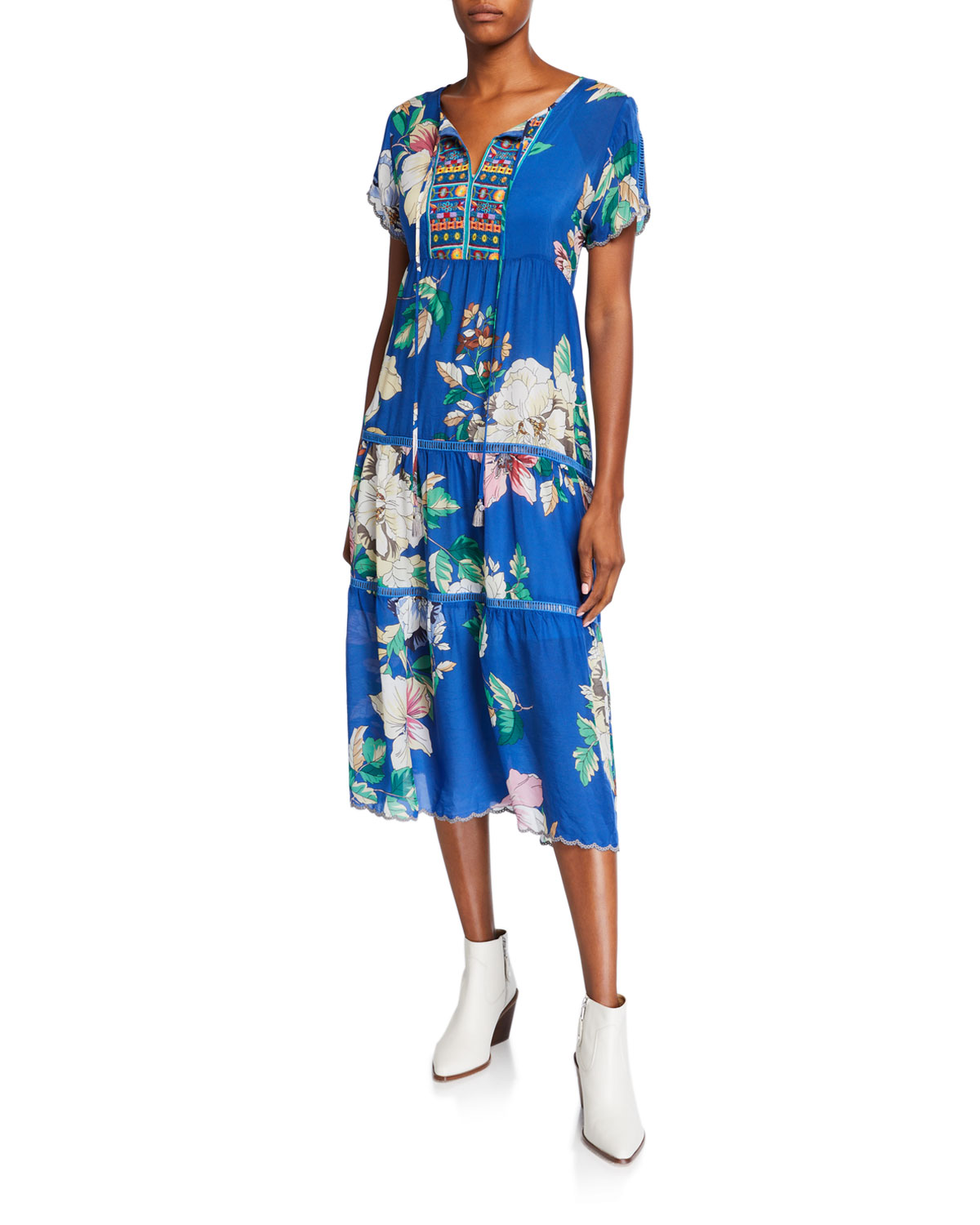 Petite Holly Floral Short Sleeve Tiered Mid Calf Dress by Johnny Was