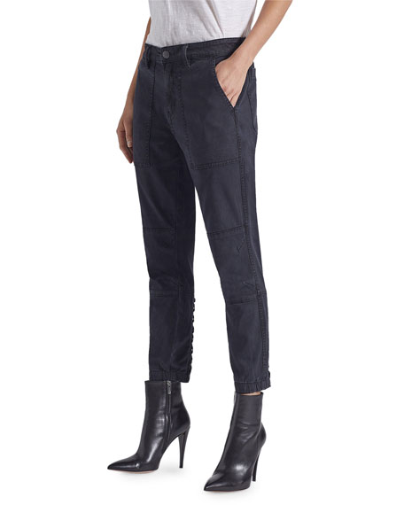 Current/Elliott The Weslan Cropped Pants w/ Lacing Detail