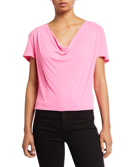 ALICE + OLIVIA JEANS Ansel Cowl-Neck Tee
