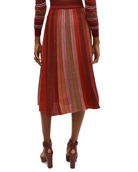 kate spade new york metallic stripe knit A-line skirt