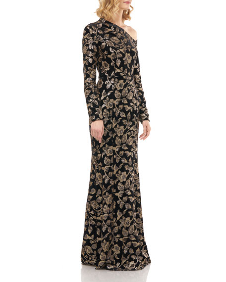 Kay Unger New York Francesca Sequin Floral Asymmetrical Neck Velvet Mermaid Gown