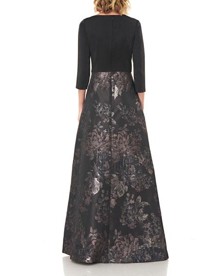 Kay Unger New York Izabella Asymmetrical Neck Floral Jacquard Gown w/ Stretch Faille Bodice