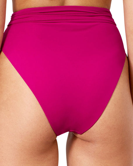 Mara Hoffman Goldie High-Waist Tie-Front Bikini Swim Bottom
