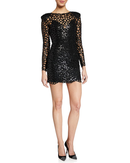 Image 1 of 2: Spider Long-Sleeve Sequin Embellished Mini Sheath Dress