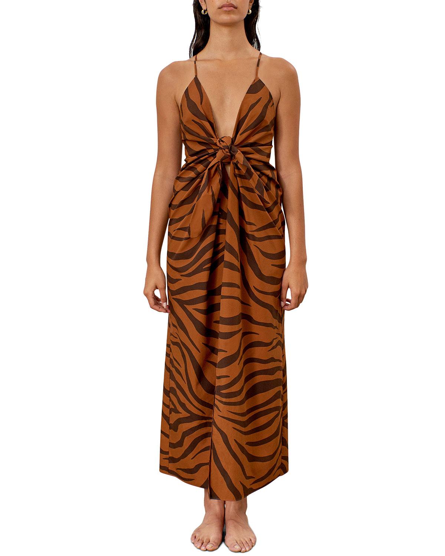 Lolita Tiger Stripe Knot Front Sleeveless Maxi Dress by Mara Hoffman