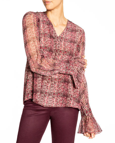 Image 2 of 3: Santorelli Printed Double Georgette Voluminous Sleeve Blouse