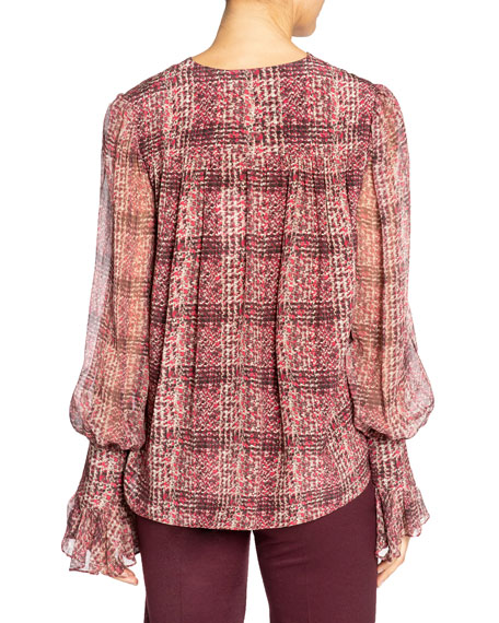 Image 3 of 3: Santorelli Printed Double Georgette Voluminous Sleeve Blouse
