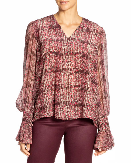 Image 1 of 3: Santorelli Printed Double Georgette Voluminous Sleeve Blouse