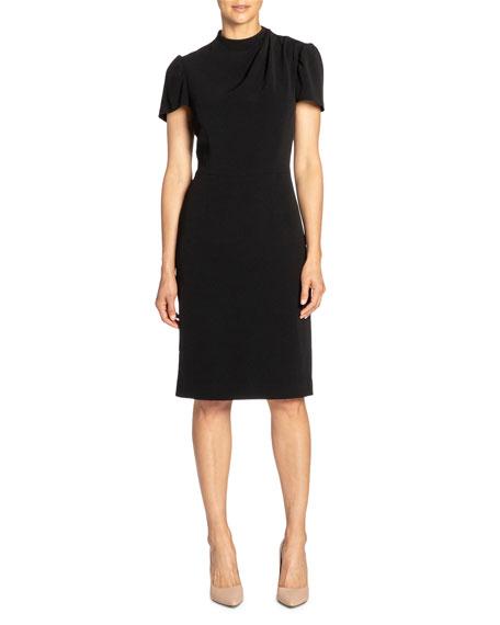 Santorelli Short-Sleeve Crepe Sheath Dress w/ Front Neck Detail