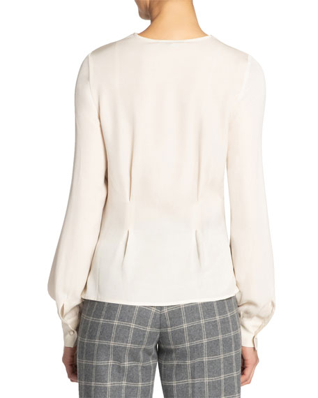 Santorelli Silk Double Georgette Long-Sleeve Blouse w/ Front Panel