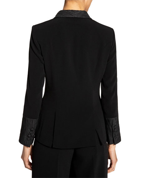 Image 4 of 5: Santorelli Crepe Double Breasted Jacket w/ Crinkle Silk Details