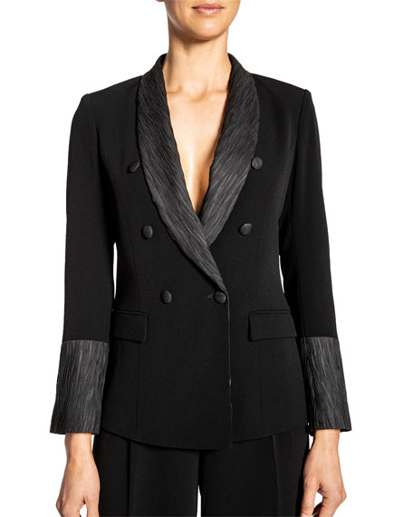 Image 1 of 5: Santorelli Crepe Double Breasted Jacket w/ Crinkle Silk Details