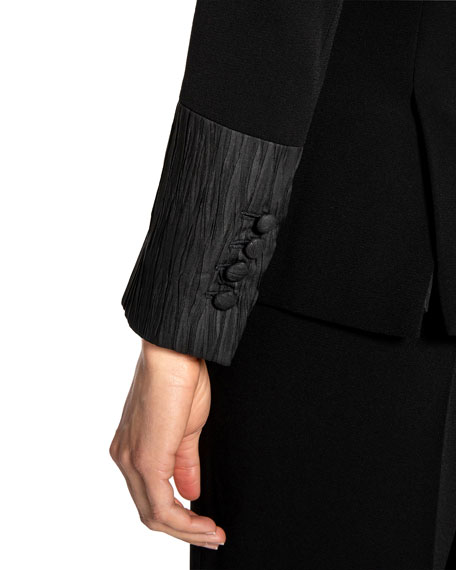 Image 5 of 5: Santorelli Crepe Double Breasted Jacket w/ Crinkle Silk Details