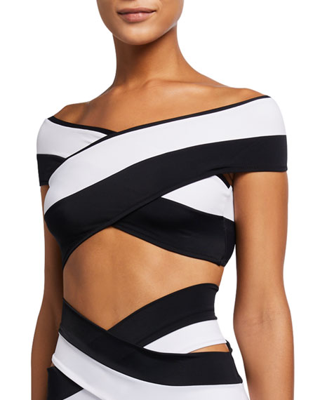 OYE Swimwear Lucette Colorblock Double Band Off-the-Shoulder Bikini Top
