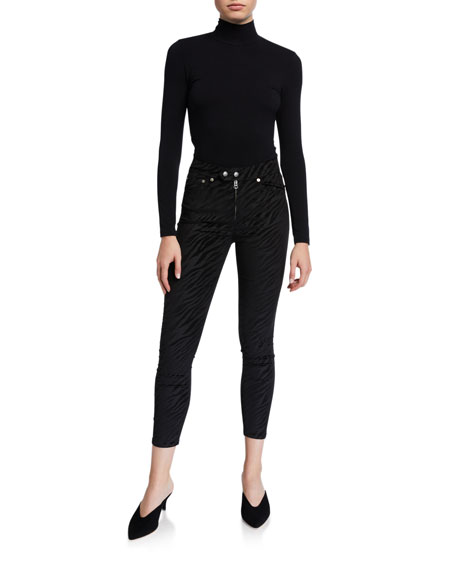 Image 3 of 3: Rag & Bone Nina High-Rise Zebra Zip-Fly Ankle Skinny Jeans