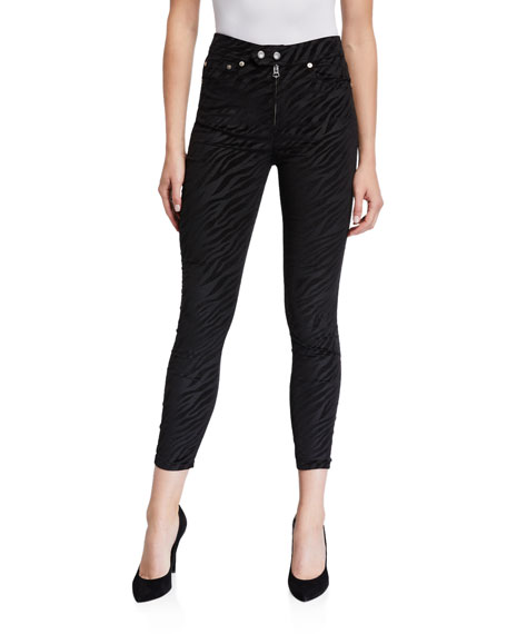 Image 1 of 3: Rag & Bone Nina High-Rise Zebra Zip-Fly Ankle Skinny Jeans