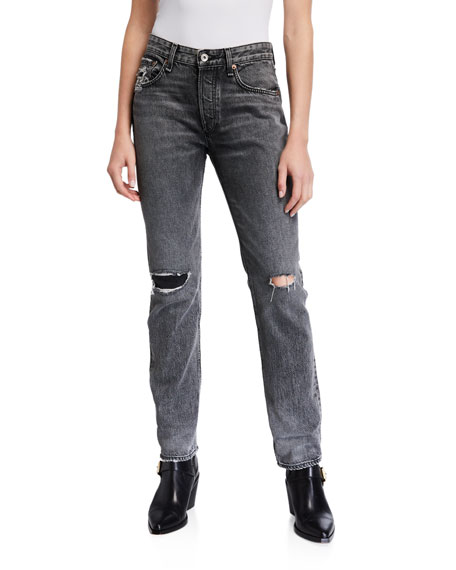 Image 1 of 3: Rosa Mid-Rise Boyfriend Jeans with Ripped Knees