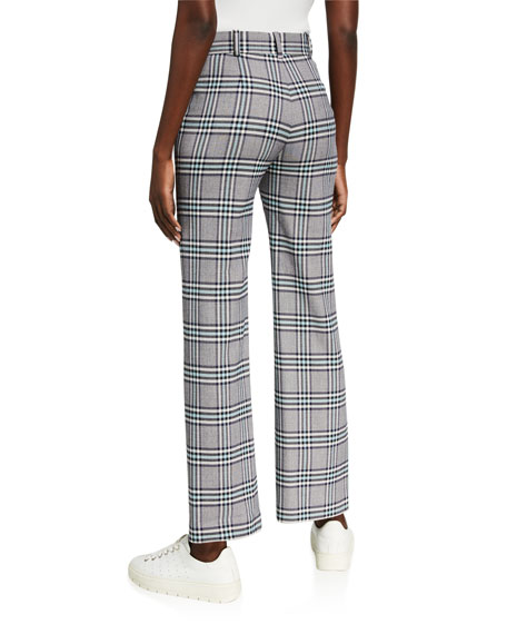 Image 2 of 3: See by Chloe Plaid Straight-Leg Pants