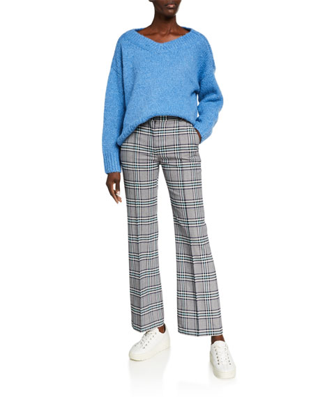 Image 3 of 3: See by Chloe Plaid Straight-Leg Pants