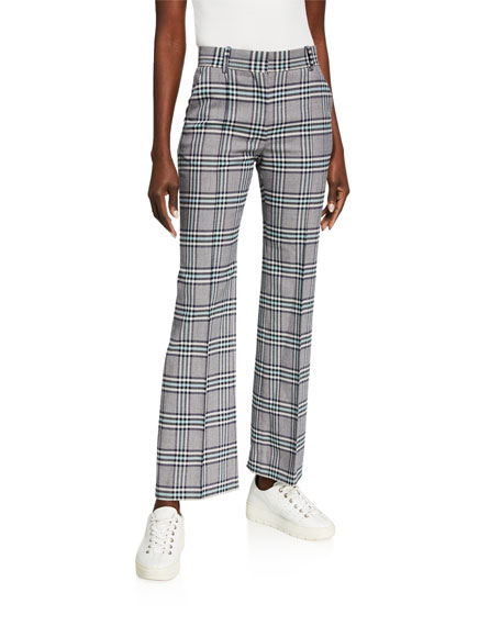 Image 1 of 3: See by Chloe Plaid Straight-Leg Pants