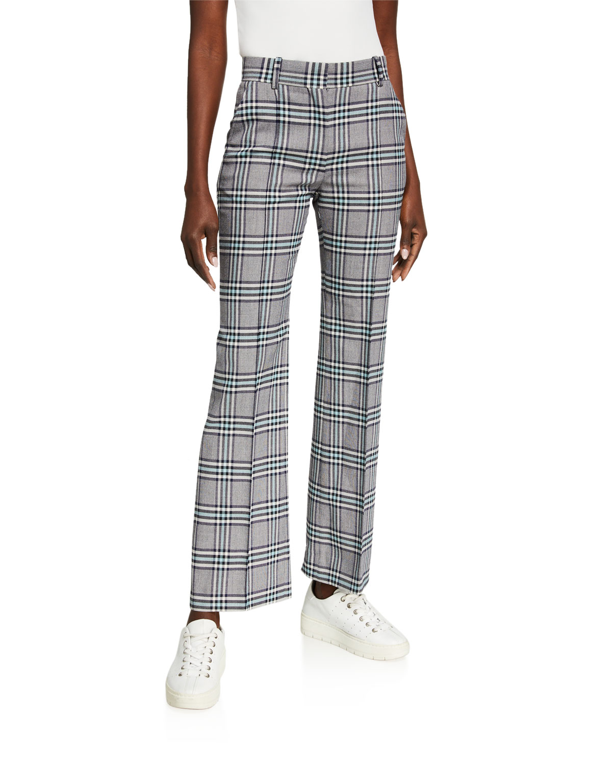 See by Chloe Plaid Straight-Leg Pants