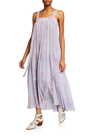 See by Chloe Square-Neck Sleeveless Floral Long Dress