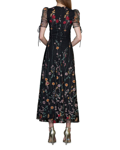 Image 2 of 2: ML Monique Lhuillier Puff-Sleeve Embroidered Midi Dress