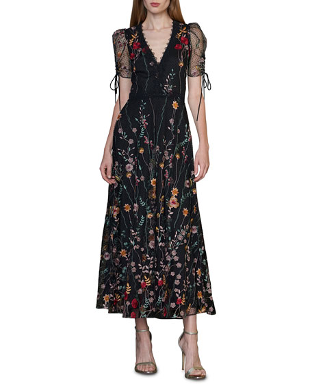 Image 1 of 2: ML Monique Lhuillier Puff-Sleeve Embroidered Midi Dress