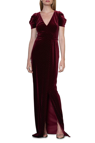 ML Monique Lhuillier Puff-Sleeve Gown With Slit