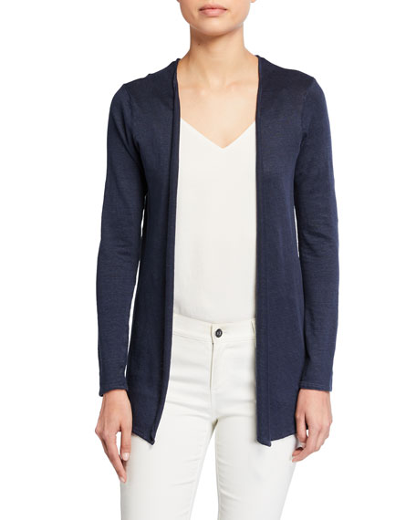 Image 1 of 2: Majestic Filatures Open-Front Linen Cardigan