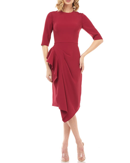 Kay Unger New York Mason Elbow-Sleeve Asymmetric Ruffle Skirt Dress