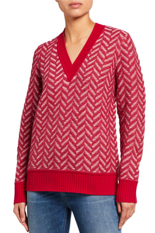 Rag & Bone Biata Textured Knit V-Neck Sweater