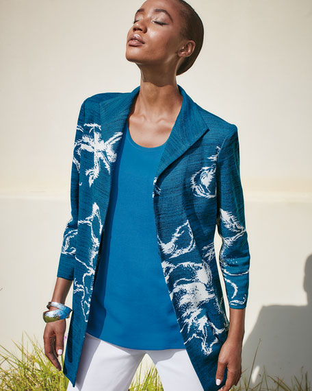 Image 2 of 4: Misook Plus Size Long Floral Space Dye Jacket