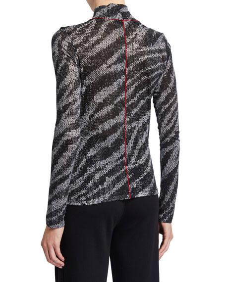 Image 2 of 2: Rag & Bone Shaw Zebra Turtleneck Top