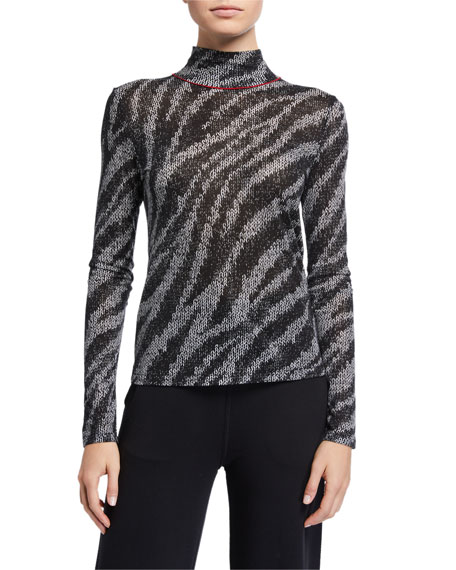 Image 1 of 2: Rag & Bone Shaw Zebra Turtleneck Top