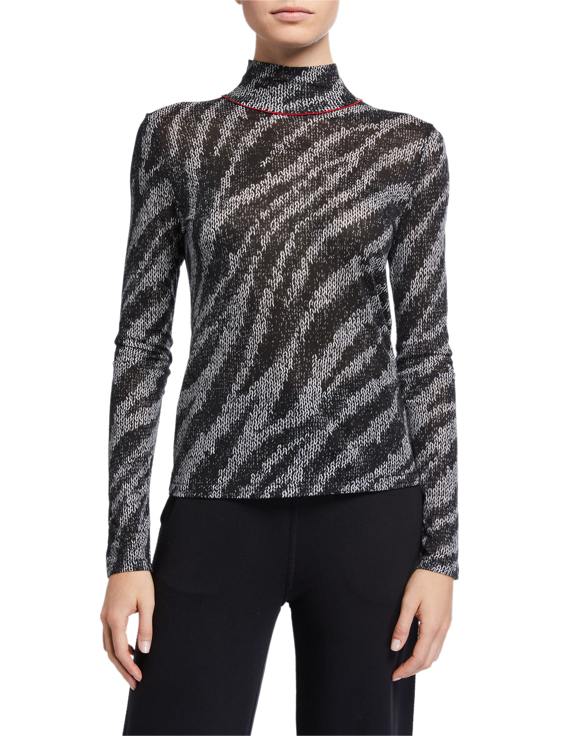 Rag & Bone Shaw Zebra Turtleneck Top
