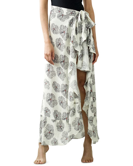Image 4 of 4: Jaline Dominika Printed Wrap Pareo Coverup