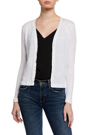 Majestic Filatures V-Neck Button-Front Stretch Linen Cardigan