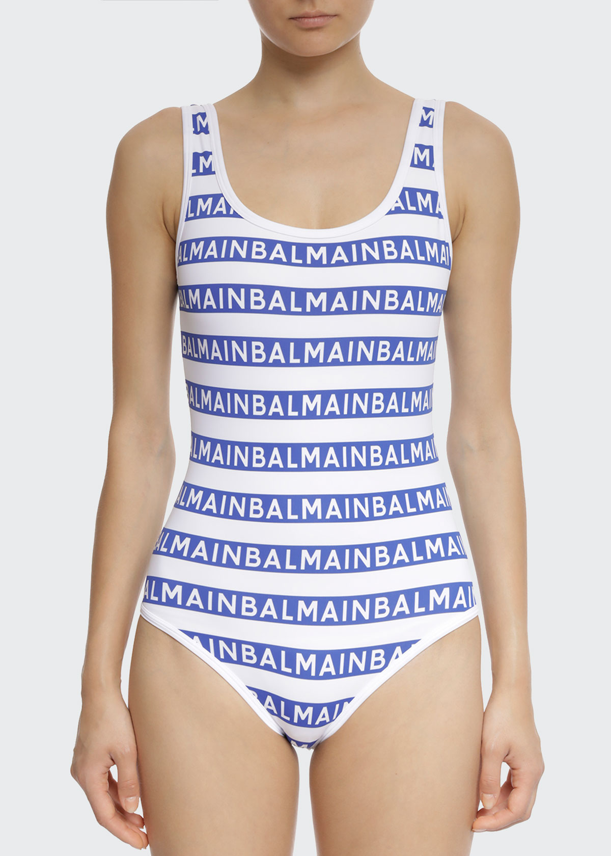Balmain Icon Stripes Tank One-Piece Swimsuit in Blue and White