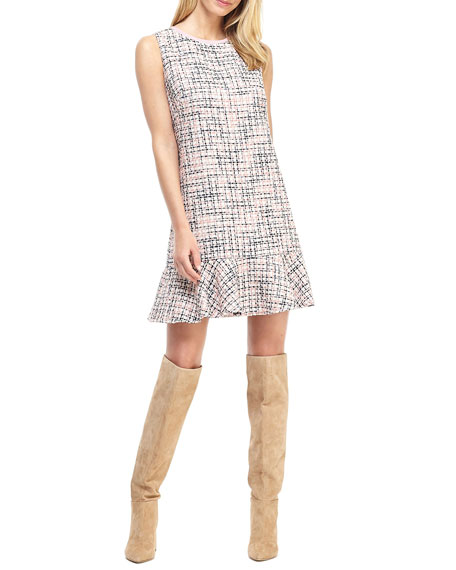 Gal Meets Glam Collection Novelty Boucle Shift Dress w/ Flounce Hem