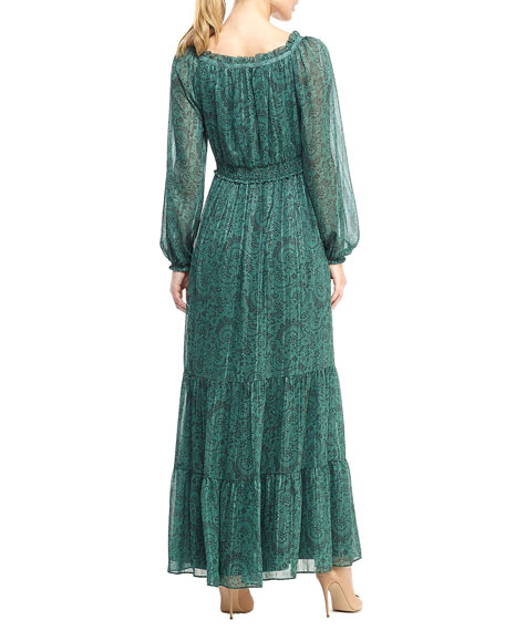 Gal Meets Glam Collection Shadow Paisley Ruffle-Trim Tiered Maxi Dress