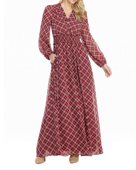 Gal Meets Glam Collection Petite Tartan Plaid Printed Long-Sleeve Chiffon Maxi Dress